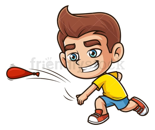 Caucasian boy throwing water balloon. PNG - JPG and vector EPS (infinitely scalable).