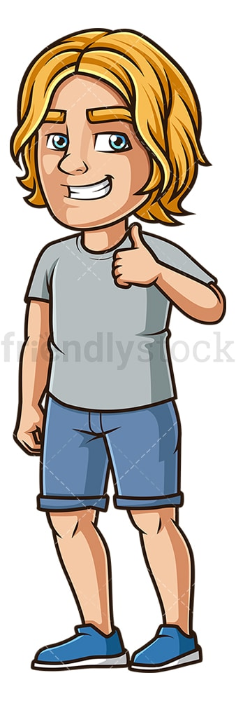 Cheerful guy thumbs up. PNG - JPG and vector EPS (infinitely scalable).