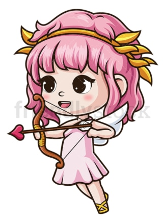 Female cupid aiming with bow. PNG - JPG and vector EPS (infinitely scalable).
