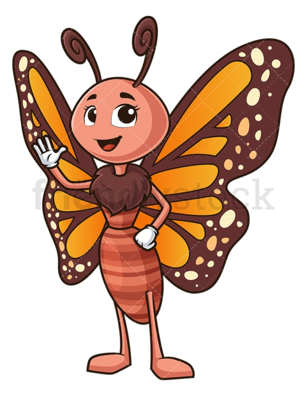 Happy butterfly waving. PNG - JPG and vector EPS (infinitely scalable).