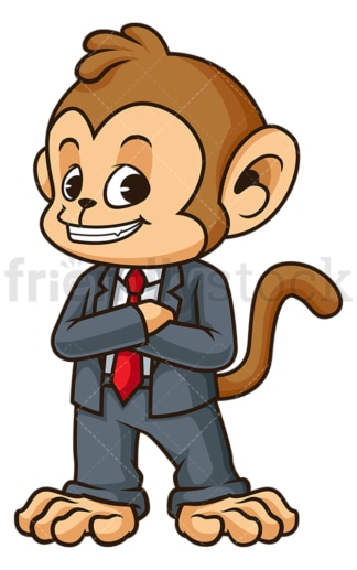 Monkey businessman grinning. PNG - JPG and vector EPS (infinitely scalable).