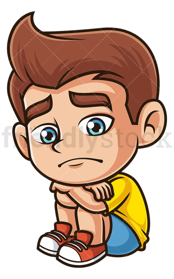 Sad little boy. PNG - JPG and vector EPS (infinitely scalable).
