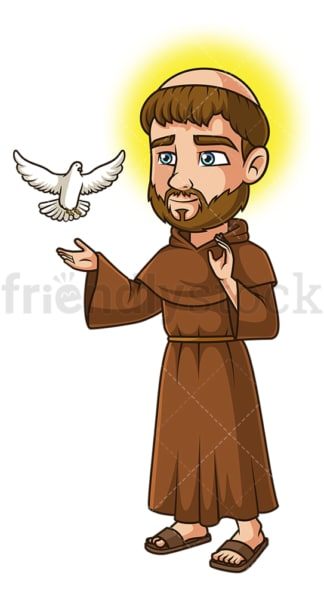 Saint francis of assisi. PNG - JPG and vector EPS file formats (infinitely scalable). Image isolated on transparent background.