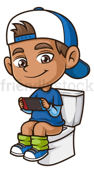 Boy gaming while pooping. PNG - JPG and vector EPS (infinitely scalable).