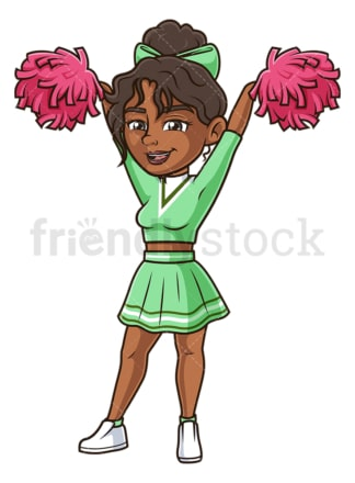 Cheerful black cheerleader. PNG - JPG and vector EPS (infinitely scalable).