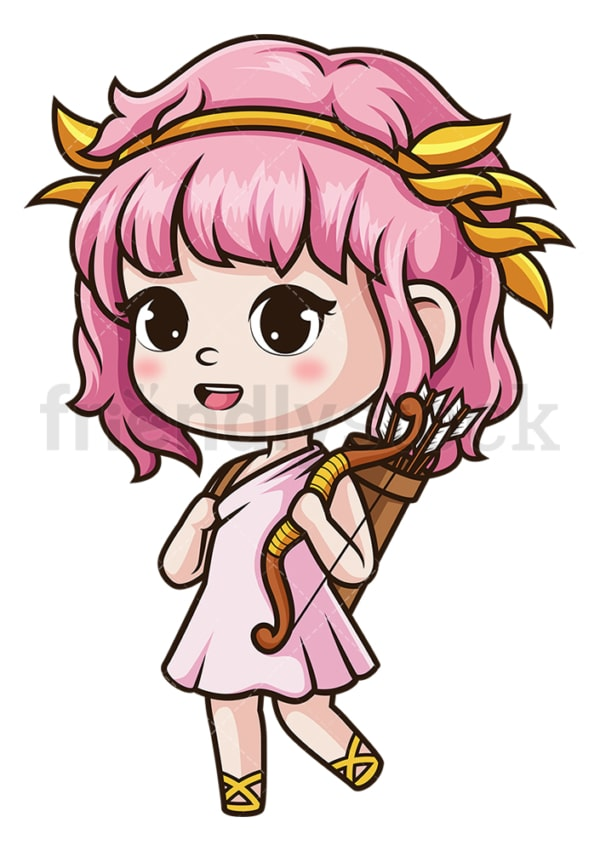 Chibi female cupid. PNG - JPG and vector EPS (infinitely scalable).