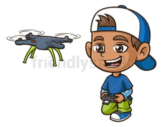 Hispanic boy flying drone. PNG - JPG and vector EPS (infinitely scalable).