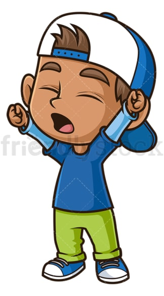 Hispanic boy stretching and yawning. PNG - JPG and vector EPS (infinitely scalable).