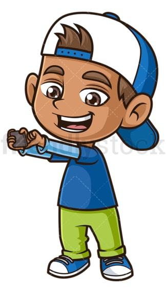 Hispanic boy taking selfie. PNG - JPG and vector EPS (infinitely scalable).