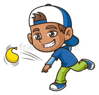 Hispanic boy throwing water balloon. PNG - JPG and vector EPS (infinitely scalable).