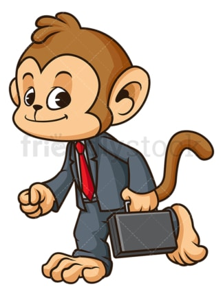Monkey businessman walking. PNG - JPG and vector EPS (infinitely scalable).