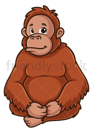 Orangutan sitting down. PNG - JPG and vector EPS (infinitely scalable).