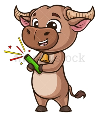 Ox holding fireworks. PNG - JPG and vector EPS (infinitely scalable).