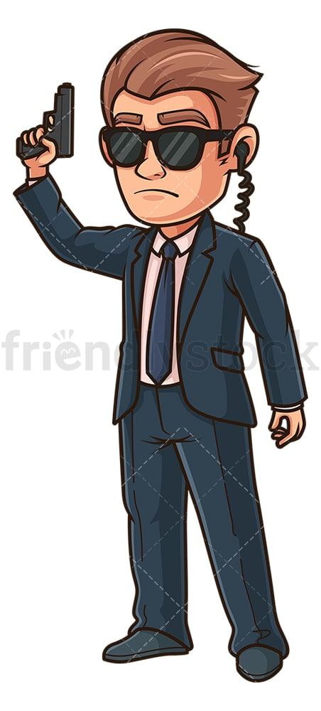 Secret service agent holding gun. PNG - JPG and vector EPS (infinitely scalable).