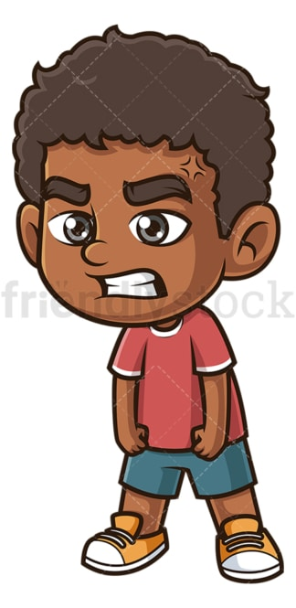 Angry black boy. PNG - JPG and vector EPS (infinitely scalable).
