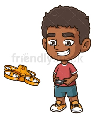 Black boy flying drone. PNG - JPG and vector EPS (infinitely scalable).