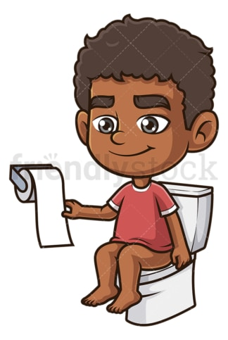 Black boy on toilet. PNG - JPG and vector EPS (infinitely scalable).