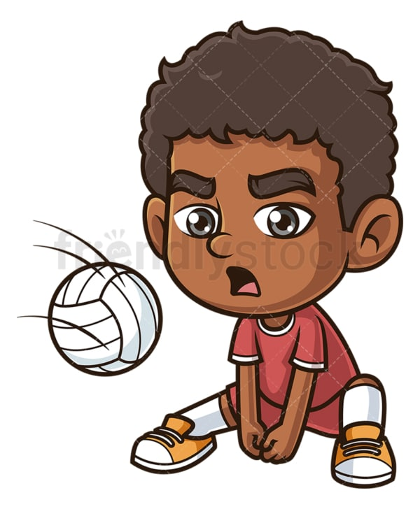 Black boy playing volleyball. PNG - JPG and vector EPS (infinitely scalable).