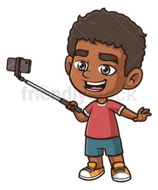 Black boy taking selfie. PNG - JPG and vector EPS (infinitely scalable).