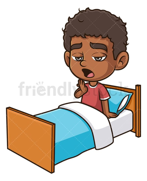 Black boy yawning in bed. PNG - JPG and vector EPS (infinitely scalable).