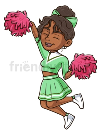 Black cheerleader jumping. PNG - JPG and vector EPS (infinitely scalable).