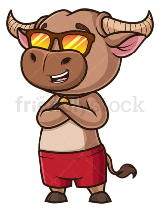 Cool ox with sunglasses. PNG - JPG and vector EPS (infinitely scalable).