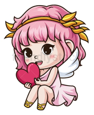 Female cupid holding heart. PNG - JPG and vector EPS (infinitely scalable).