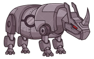 Mechanical rhino robot. PNG - JPG and vector EPS (infinitely scalable).