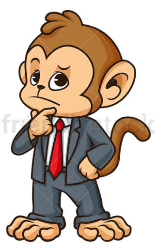 Monkey businessman thinking. PNG - JPG and vector EPS (infinitely scalable).
