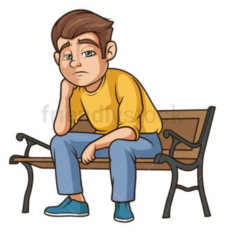 Sad guy on bench. PNG - JPG and vector EPS (infinitely scalable).