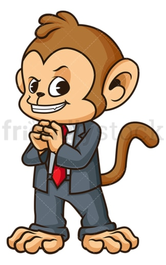 Cunning monkey businessman plotting. PNG - JPG and vector EPS (infinitely scalable).