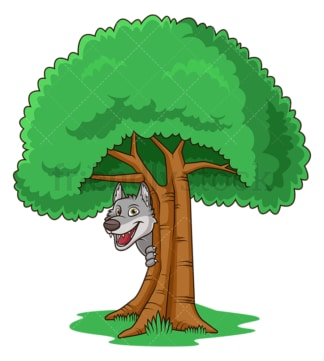 Cunning wolf hiding behind tree. PNG - JPG and vector EPS (infinitely scalable).