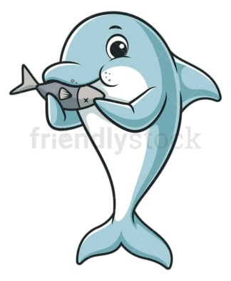 Dolphin eating fish. PNG - JPG and vector EPS (infinitely scalable).