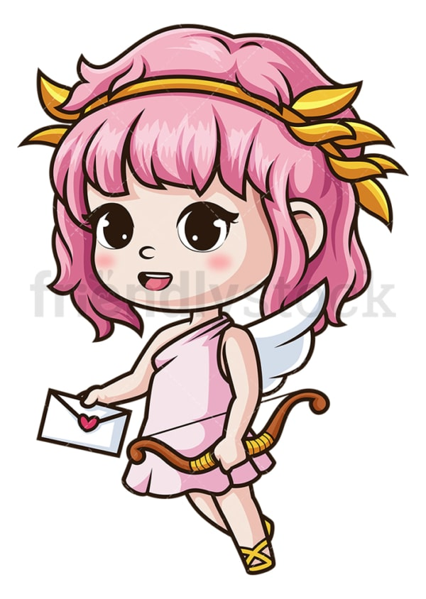 Girl cupid holding love letter. PNG - JPG and vector EPS (infinitely scalable).