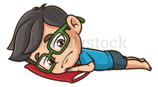 Sad kid lying down. PNG - JPG and vector EPS (infinitely scalable).