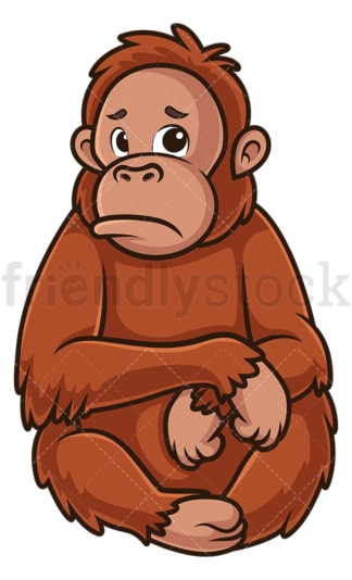 Sad orangutan. PNG - JPG and vector EPS (infinitely scalable).