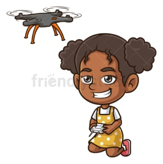 Black girl flying drone. PNG - JPG and vector EPS (infinitely scalable).