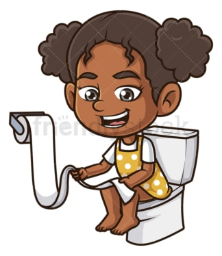 Black girl on toilet. PNG - JPG and vector EPS (infinitely scalable).