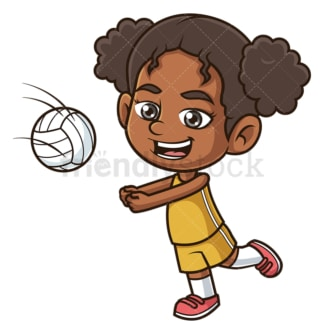 Black girl playing volleyball. PNG - JPG and vector EPS (infinitely scalable).