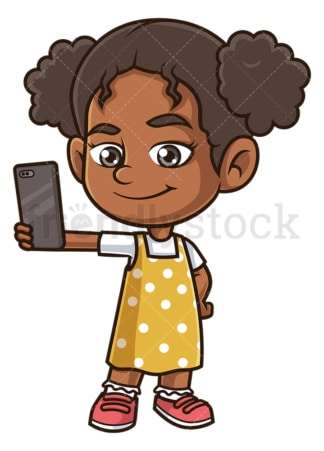 Black girl taking selfie. PNG - JPG and vector EPS (infinitely scalable).