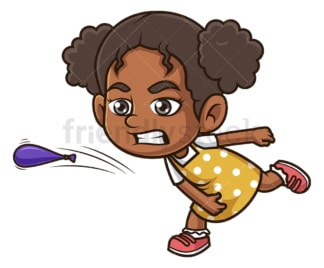 Black girl throwing water balloon. PNG - JPG and vector EPS (infinitely scalable).