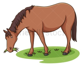 Horse eating grass. PNG - JPG and vector EPS (infinitely scalable).