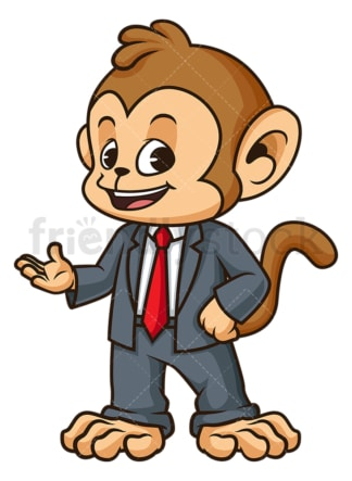 Monkey businessman presenting. PNG - JPG and vector EPS (infinitely scalable).