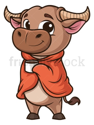 Ox with blanket and coffee. PNG - JPG and vector EPS (infinitely scalable).