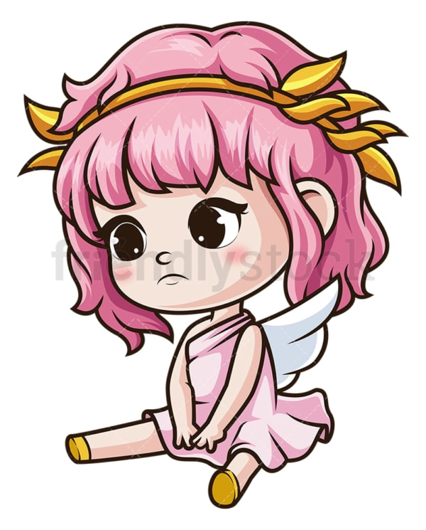 Sad female cupid. PNG - JPG and vector EPS (infinitely scalable).
