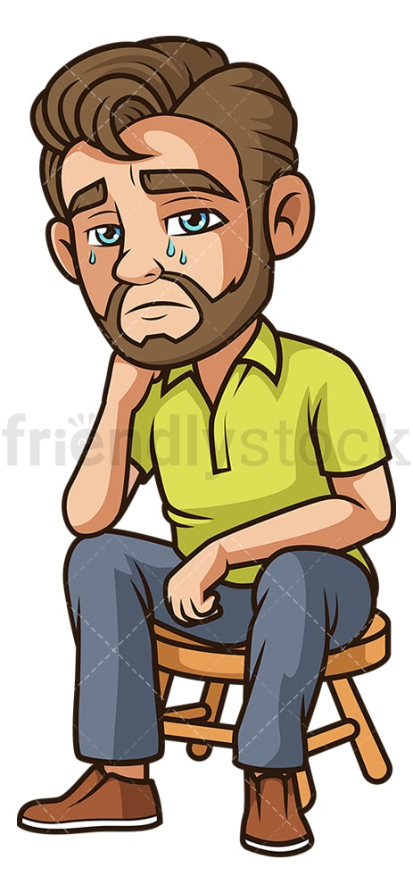 Sorrowful man crying. PNG - JPG and vector EPS (infinitely scalable).