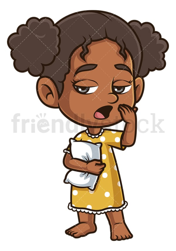 Tired black girl yawning. PNG - JPG and vector EPS (infinitely scalable).