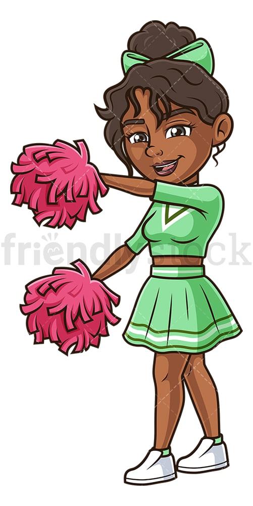 Black cheerleader dancing. PNG - JPG and vector EPS (infinitely scalable).