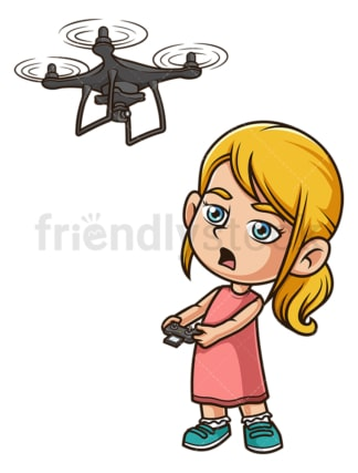 Caucasian girl flying drone. PNG - JPG and vector EPS (infinitely scalable).