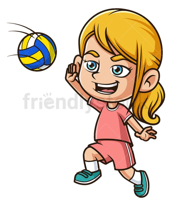 Caucasian girl spiking a volleyball. PNG - JPG and vector EPS (infinitely scalable).